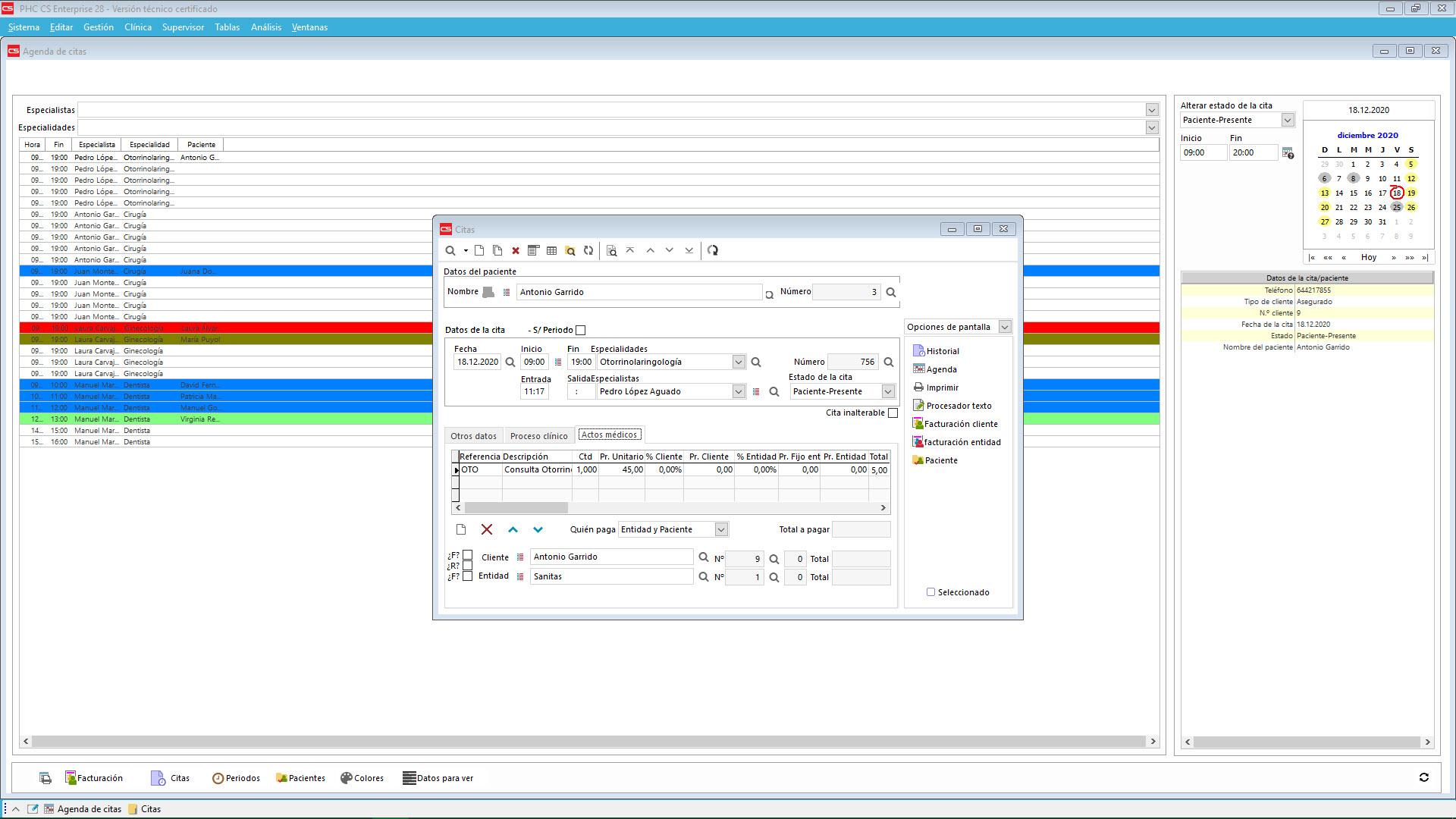 Software de gestión PHC CS con agenda para citas