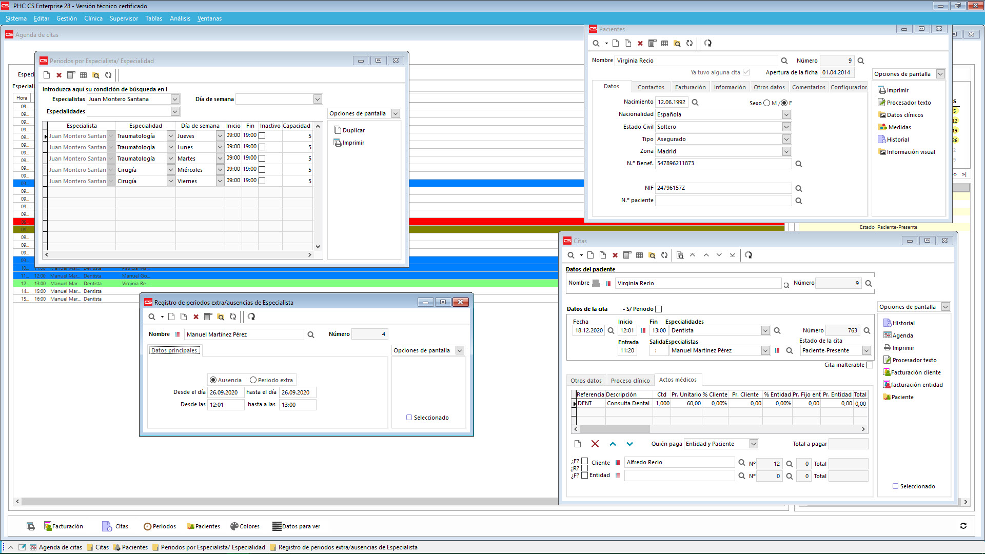 Organización de la Clínica, pacientes, cuentas corrientes y facturación Software de Gestión PHC CS
