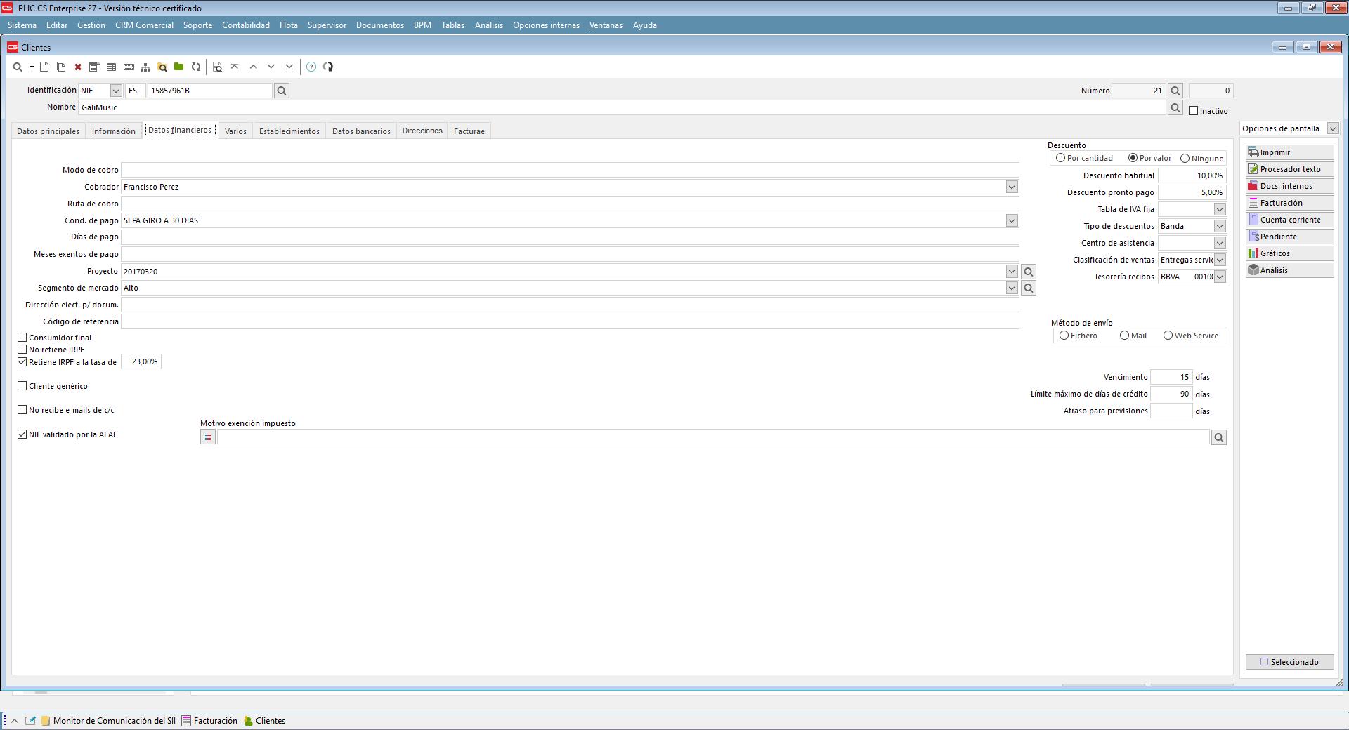 Funciones y Alertas en comunicaciones de Facturas y Compras al SII con software de gestión PHC para Retail