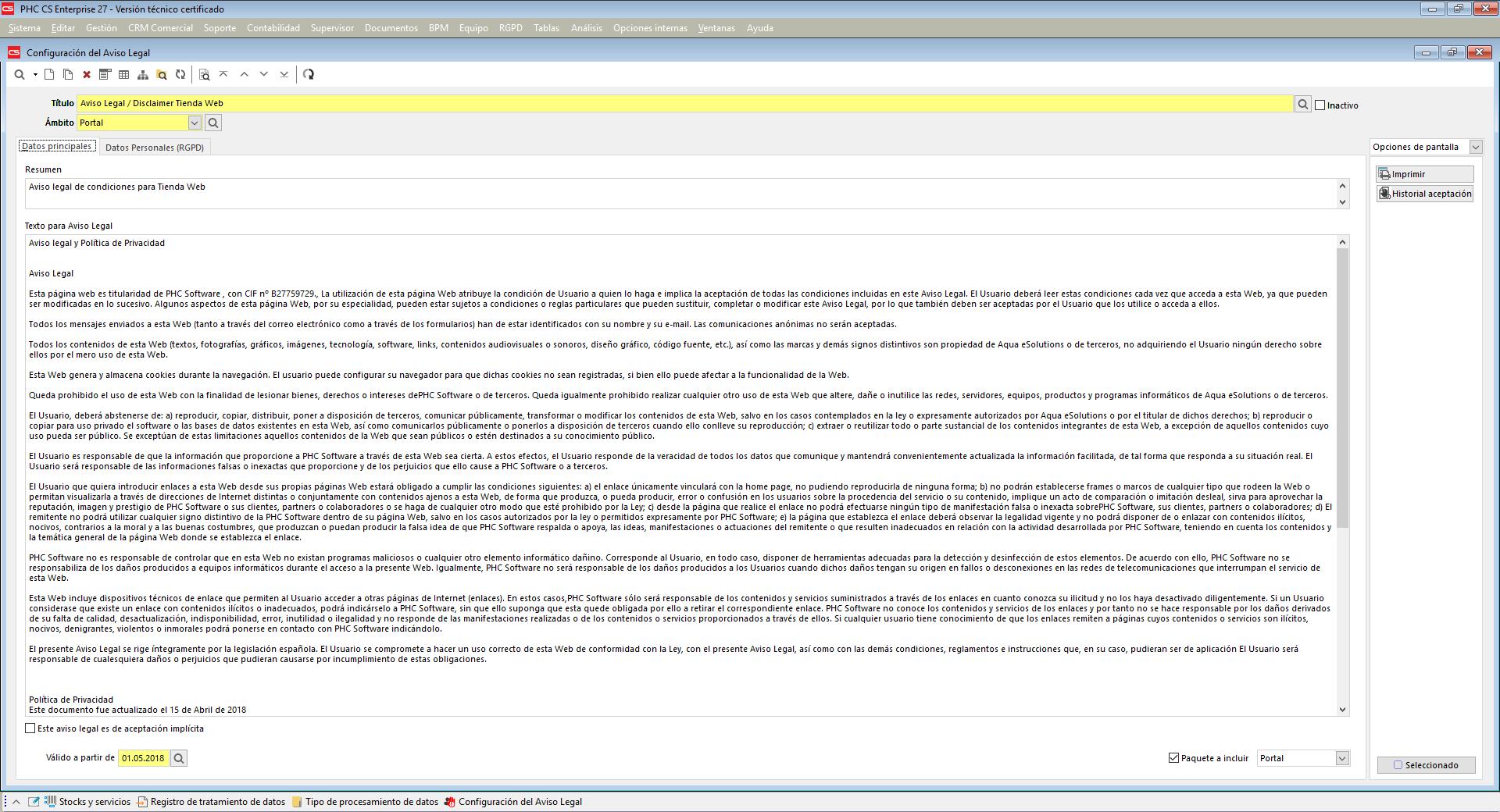 Creación de avisos legales configurables con Software de Gestión PHC