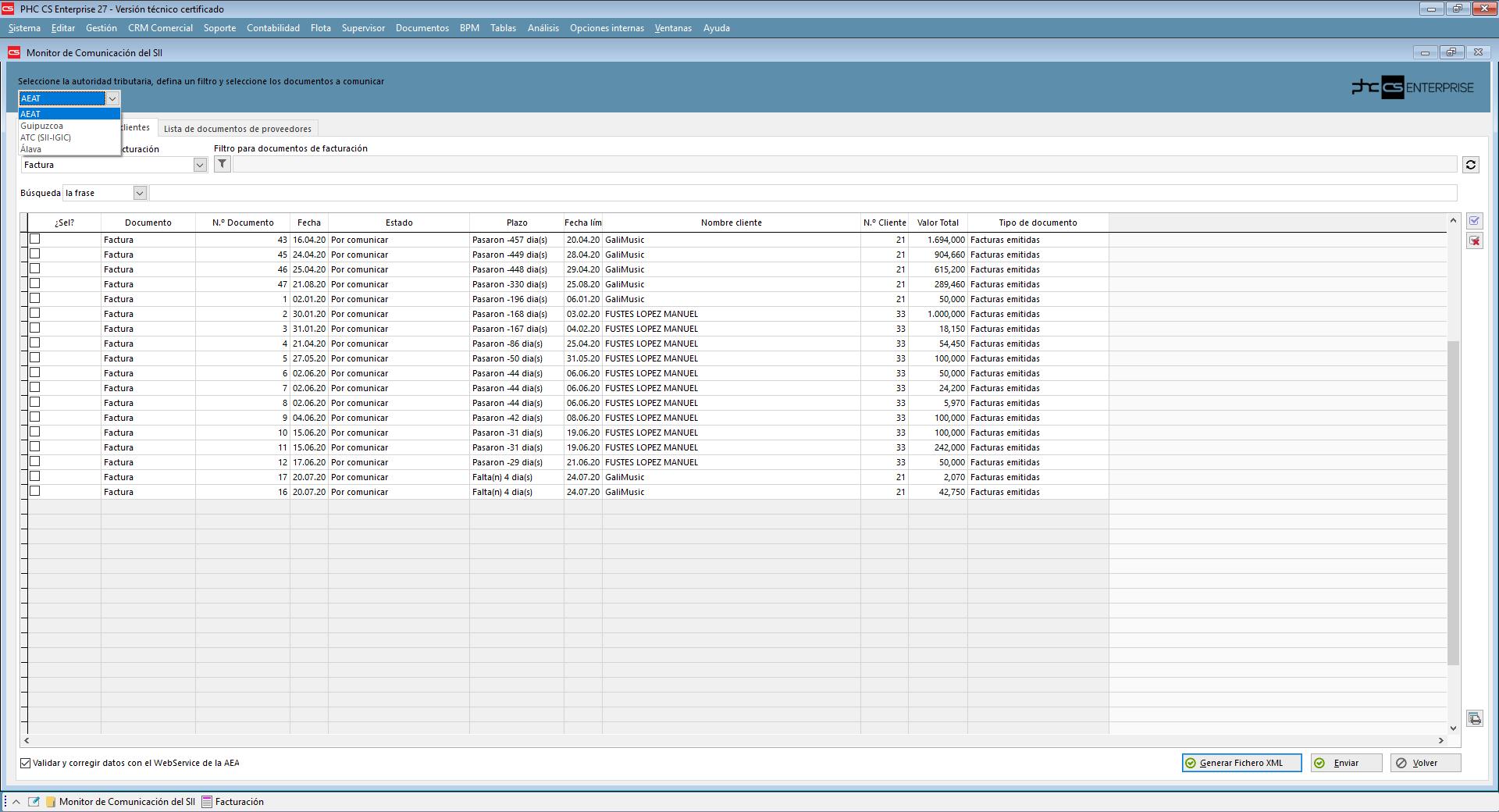 Comunicación del SII pro Webservice a la AEAT con Software de Gestión PHC