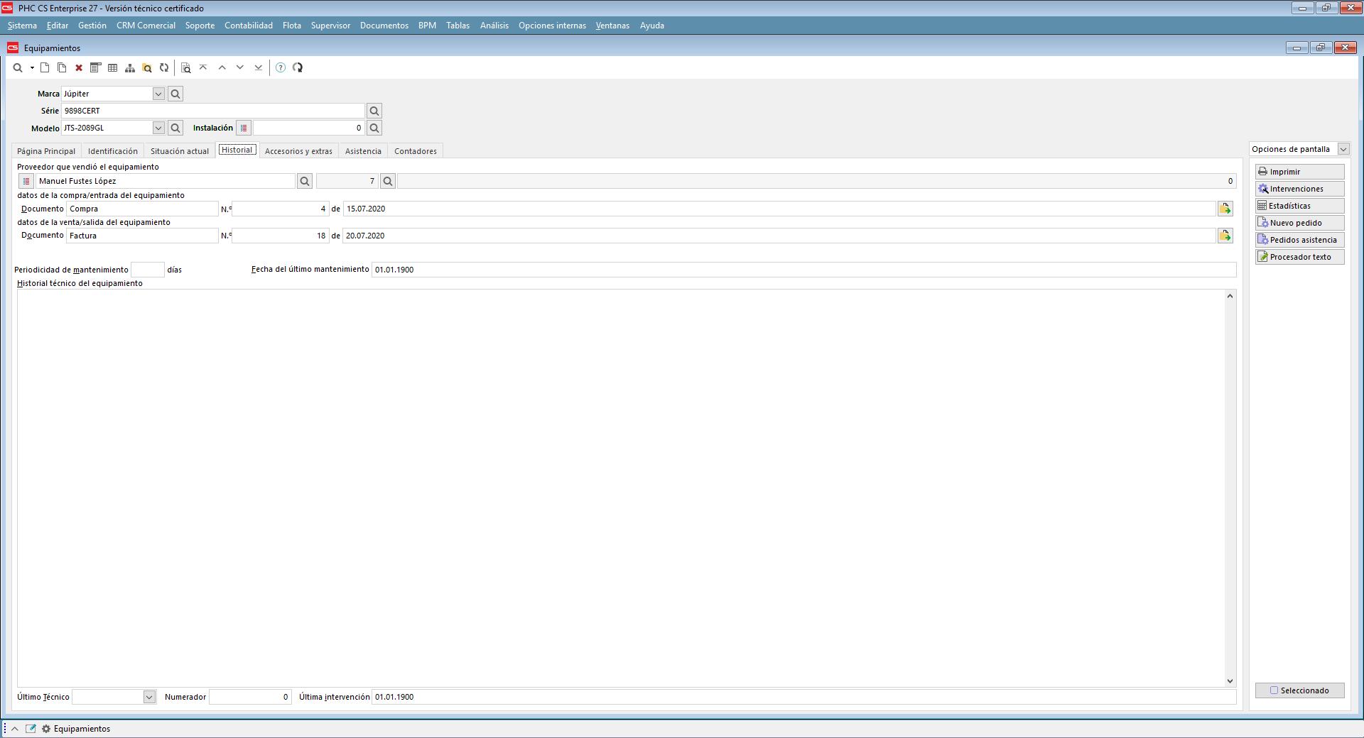 Estadísticas con el historial del equipamiento con Software de Gestión PHC
