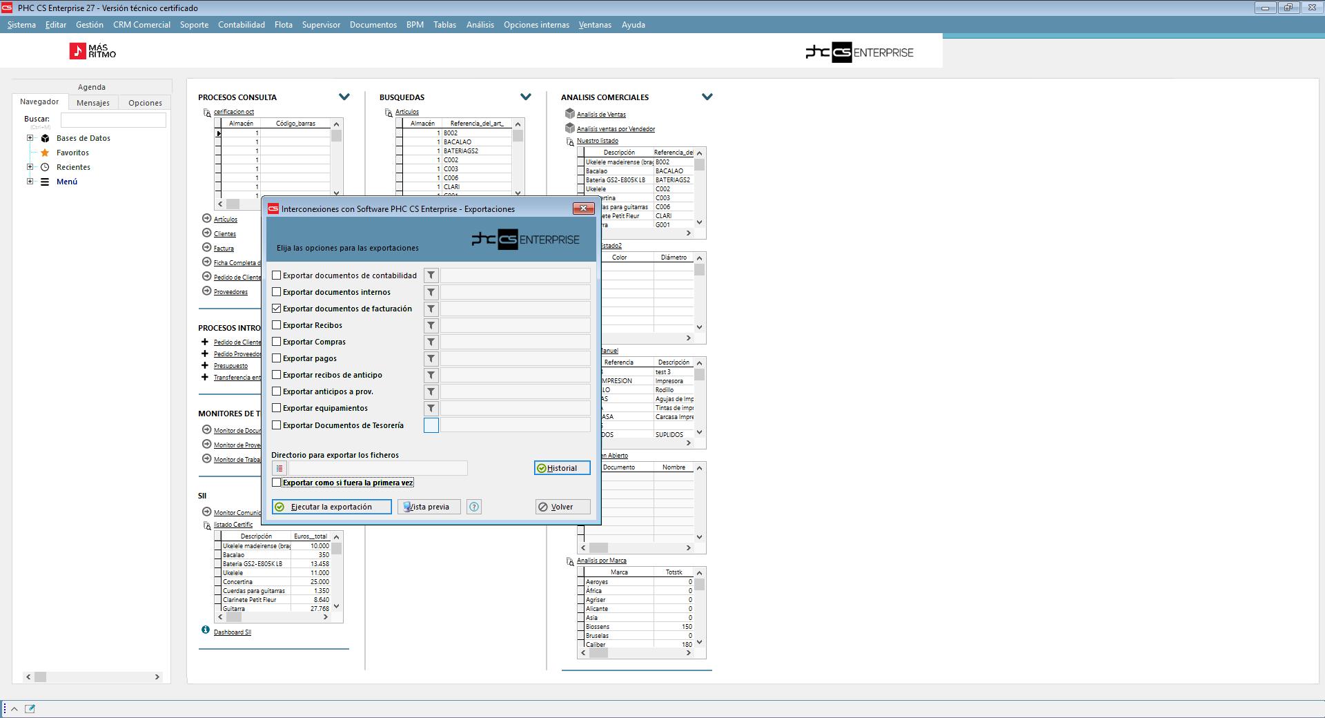 Integración con Base de datos exteriores con Software de gestión Financiera