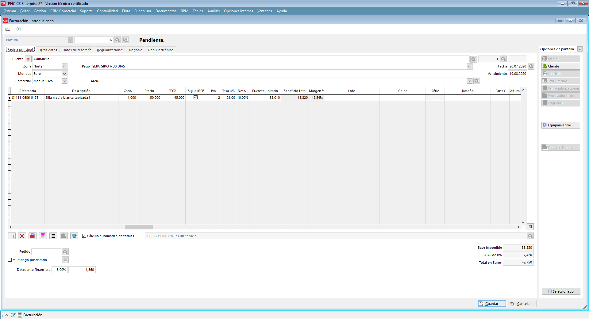 Documentos de facturación (con retención de IRPF) con software de gestión PHC