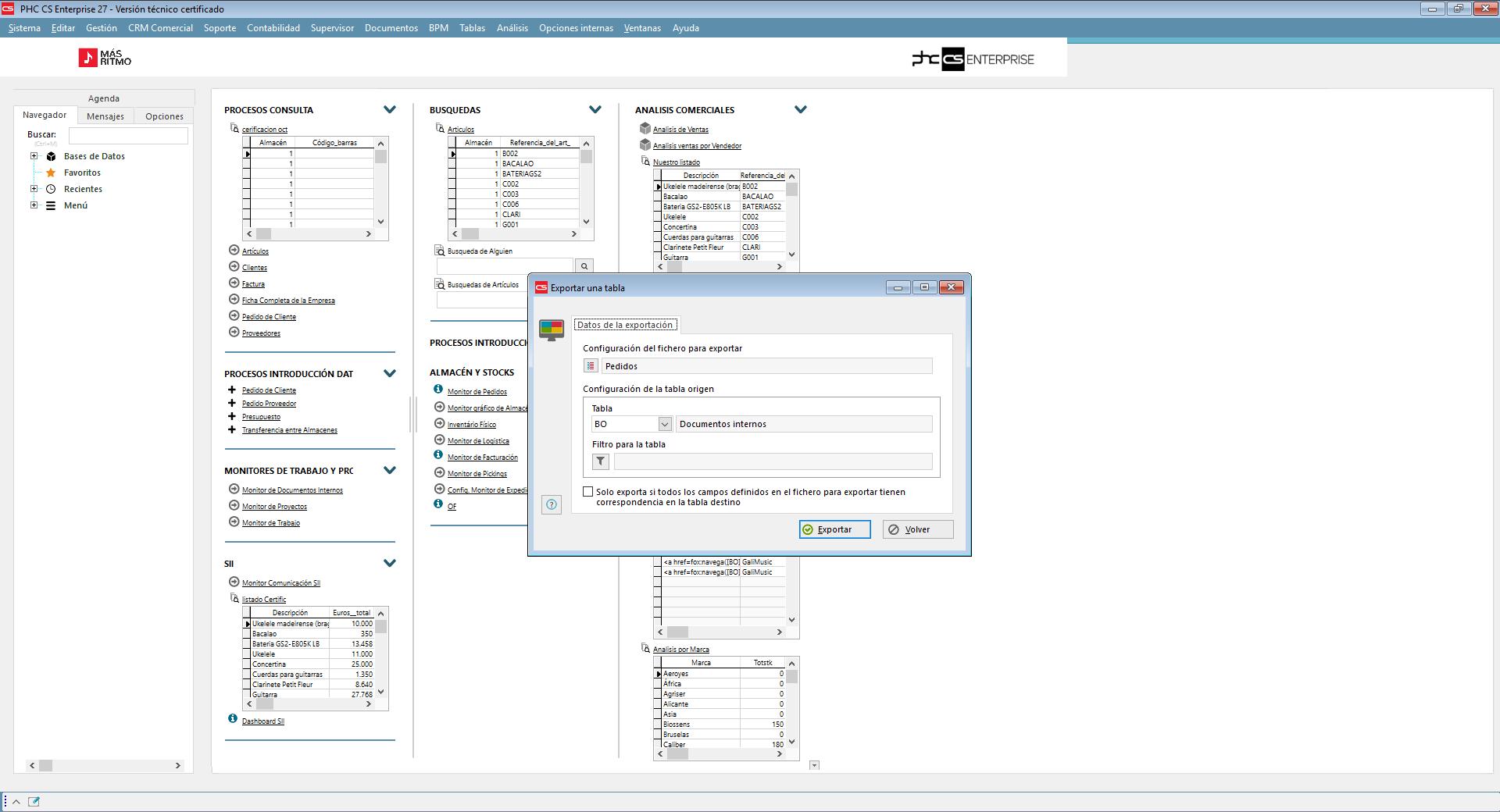 Importación o Exportación de información a cualquier tabla  con Software de Gestión PHC