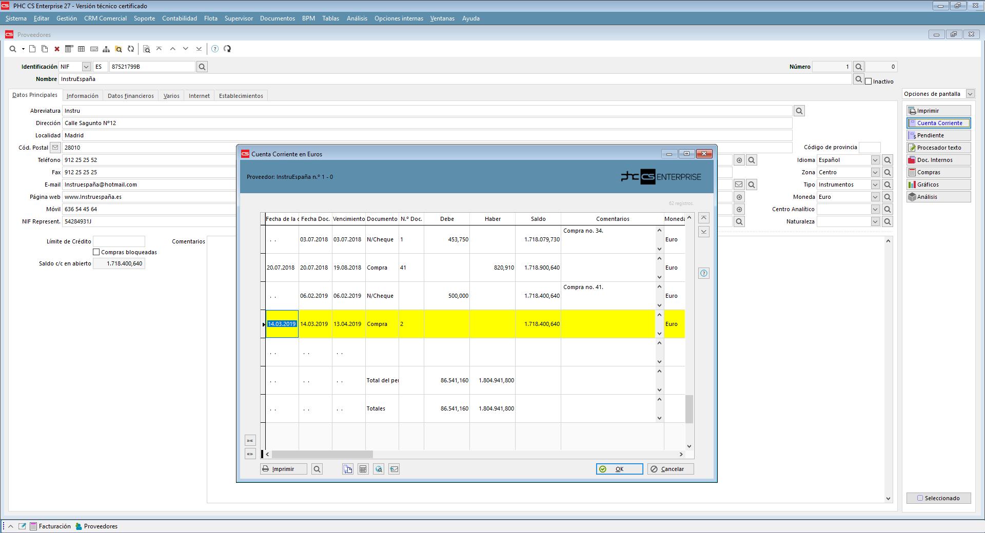 Gestión de cuentas corrientes de proveedores con Software de Gestión PHC