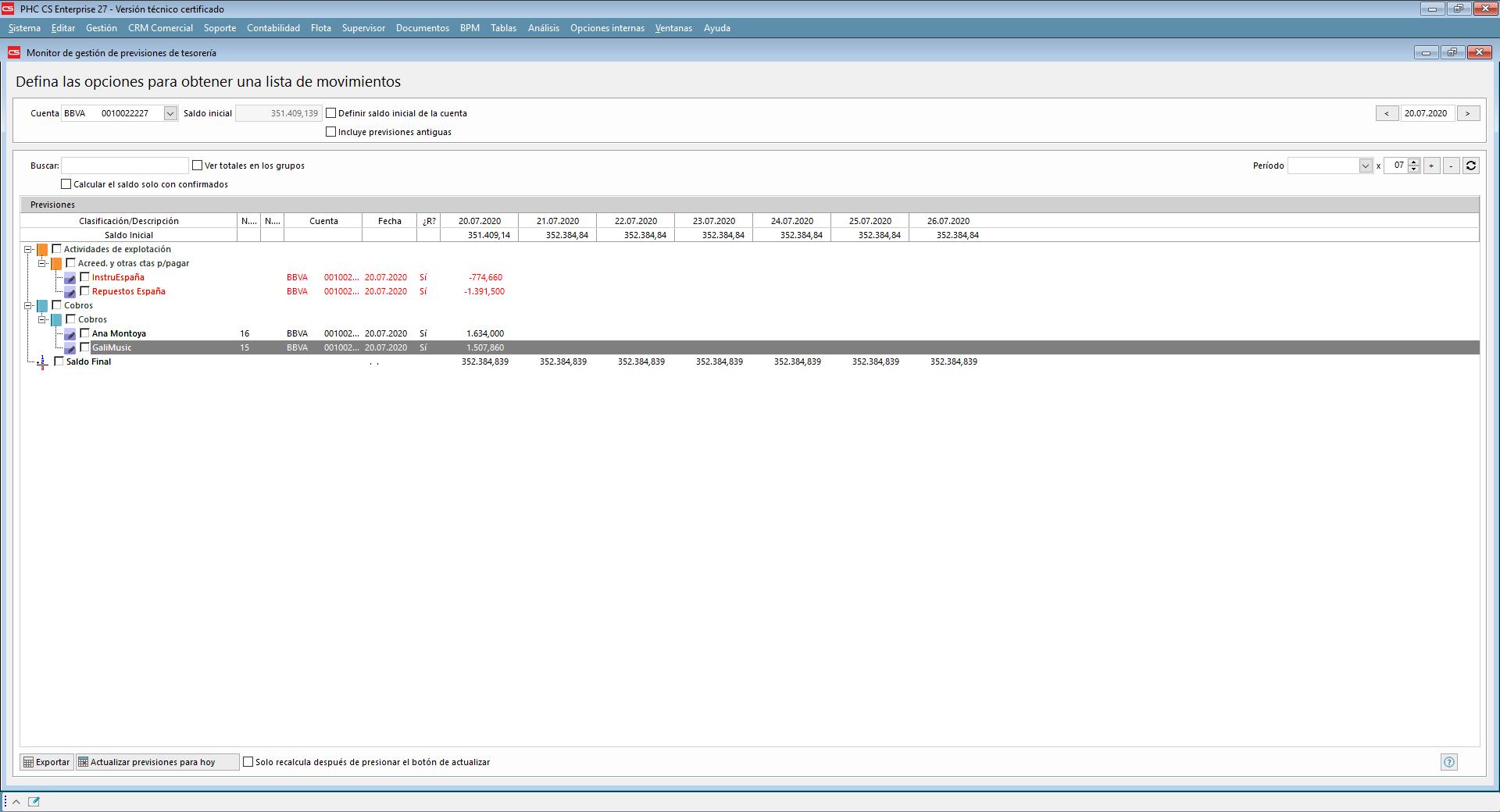 Gestión de previsiones de tesorería con Software de Gestión PHC