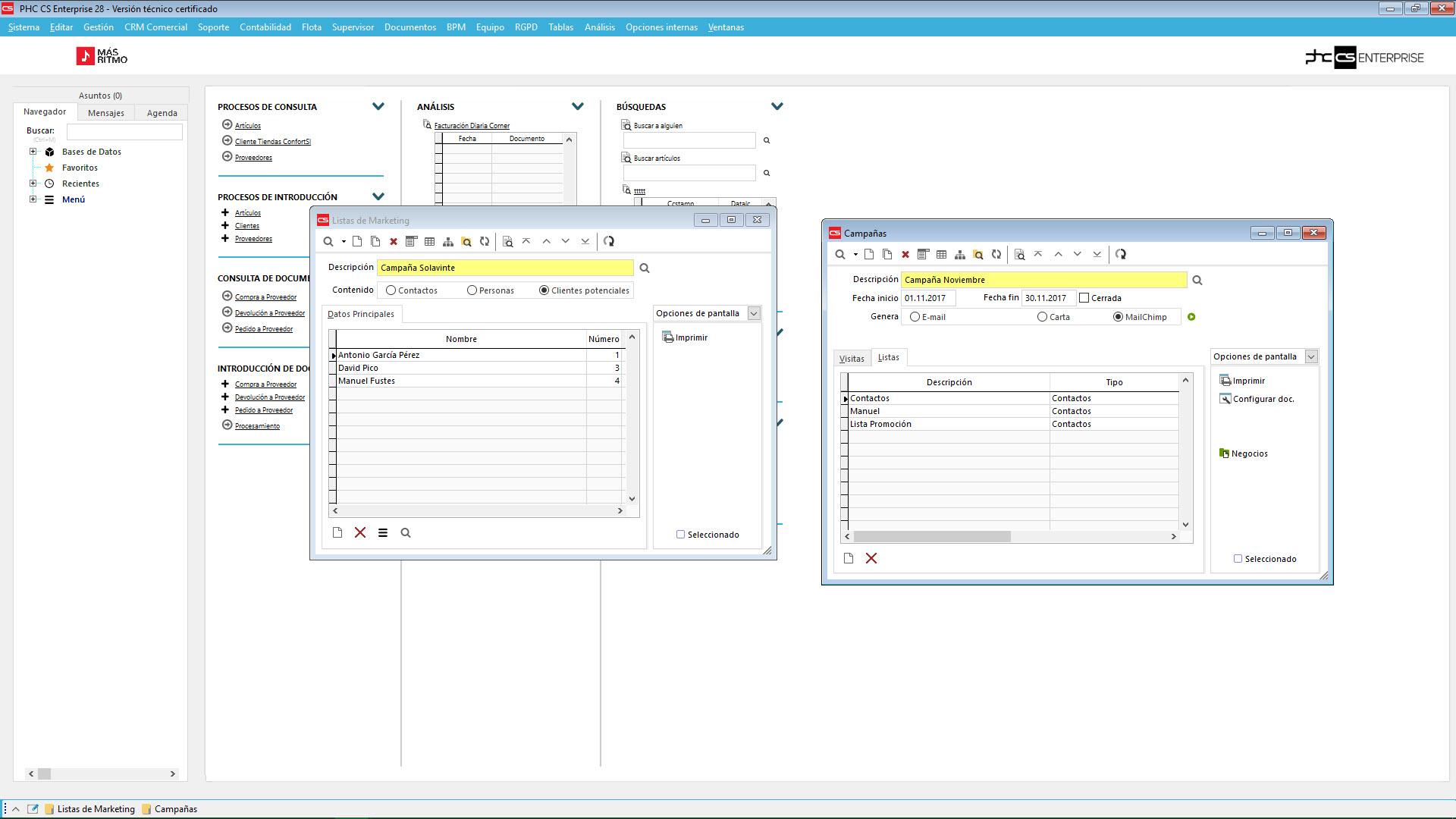 Gestión de fichero de vendedores con control e impresión de la agenda del software de gestión para CRM