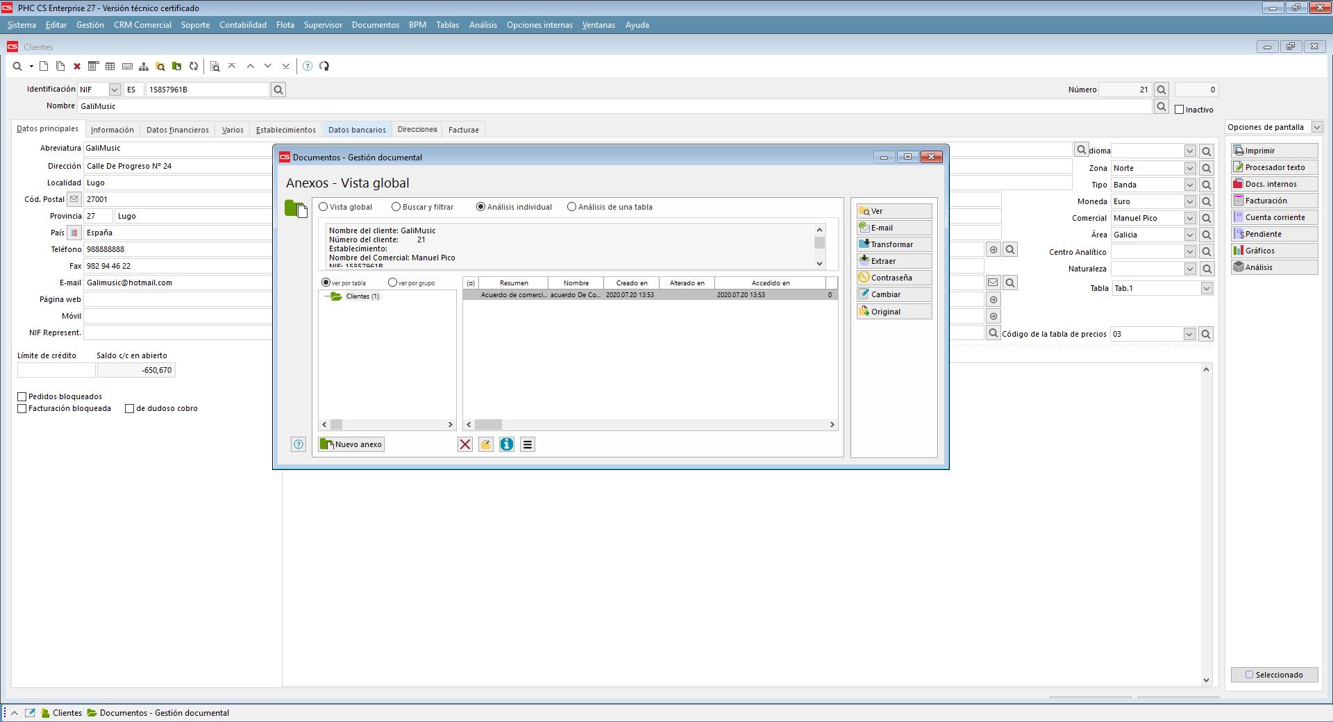 Añadir al sistema documentos en cualquier formato reconocido, como vídeos, documentos Word, Excel, pdf con Software de Gestión PHC