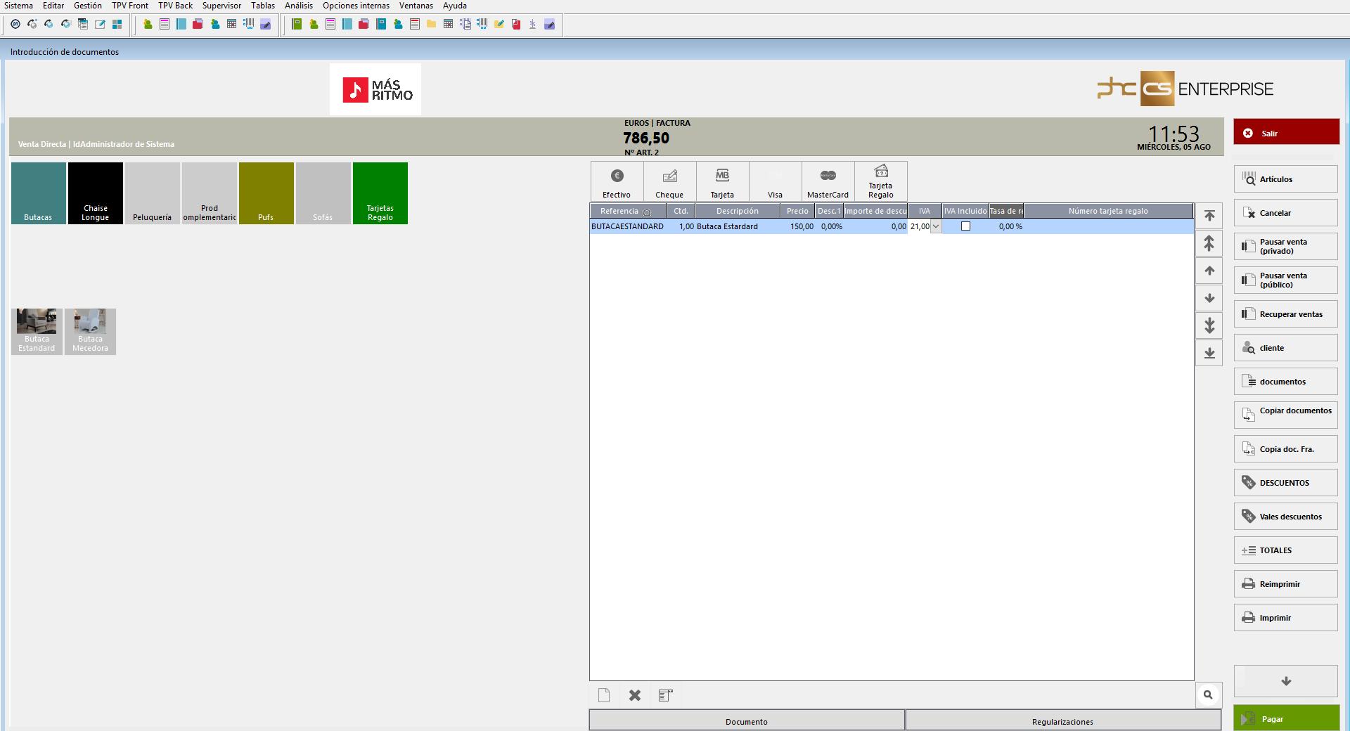 Interface para Touch TPV, Facturación y Doc. Internos